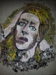 David Bowie - Hunky Dory album cover in Textile & Watercolour
