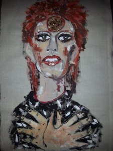 Ziggy Stardust watercolour and Textile        Size A3 No 2